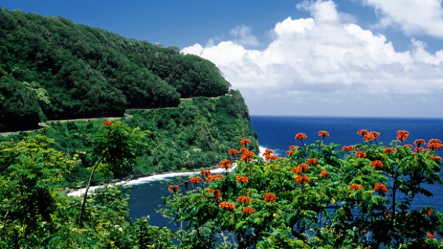 Hana Highway, Maui island, Hawaii. Driving the Hana Highway is like playing snakes and ladders on wheels. Down the beaches, up the ridges and shimmy along the escarpment.