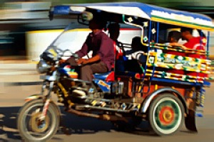 Glorified go-kart ... a tuk-tuk in Laos.