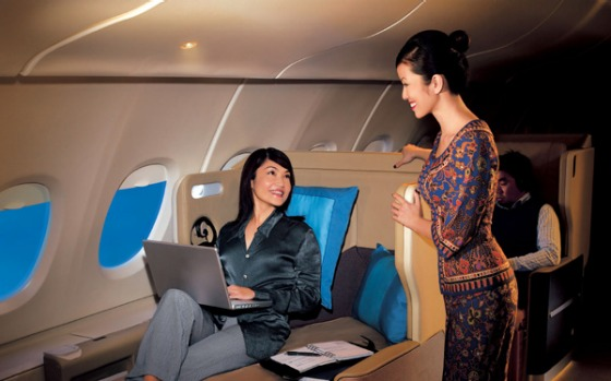 Business class on board a Singapore Airlines.