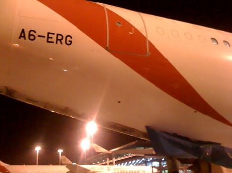 The damaged tail of the Emirates A340.