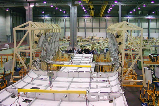 Final assembly of aircraft includes joining the forward, centre and aft fuselage sections, mating the wings to the fuselage.
