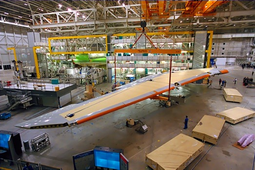 Wing assembly. It can take two to three years to build a plane from scratch.