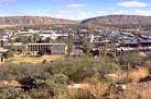 View from Anzac Hill across Alice Springs to Heavitree Gap