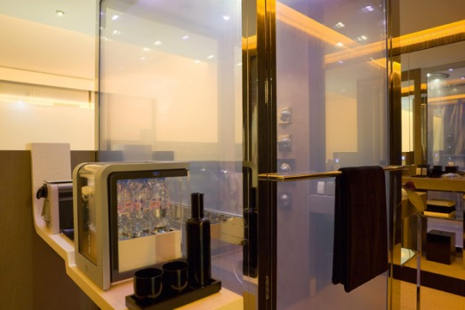 The oversized shower - 1.5m-by-1m - and equipped with special glass which can switch from clear to opaque. It has an ...