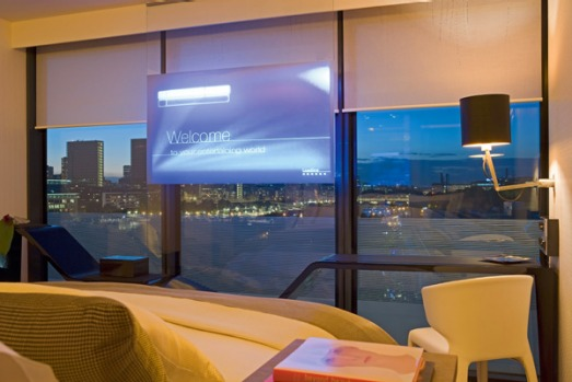 Seemingly suspended in mid-air in the window is a 1.2m television screen. It uses thin film technology, providing ...