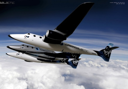 A promotional image of Spaceship Two in flight.