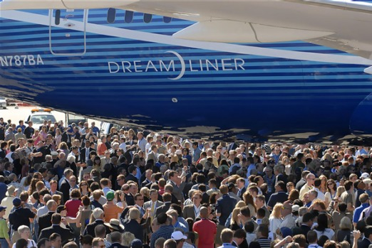 The Dreamliner during its first public unveiling in July 2007.