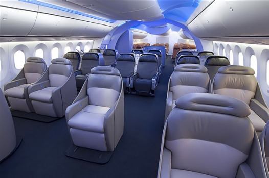 The Boeing 787 Dreamliners interiors feature sweeping arches, wide aisles, larger lavatories, and dynamic lighting.