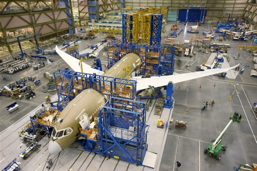 Boeing's 787 production plant, where it has eight of the aircraft in various stages of assembly.