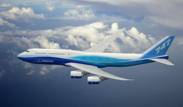 The 747-8 will be stretched 5.6 meters from the 747-400 to provide 467 seats in a three-class configuration and a range ...