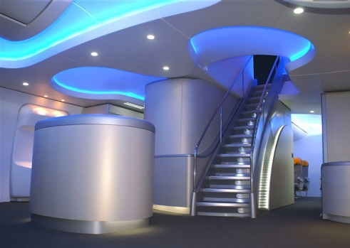 Boeing says the architecture in the 747-8 will be accentuated by lighting technology that provides smooth transitions ...