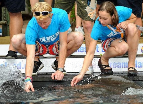 The 'Best Job In The World' finalists Ben Southall (L) of the UK and Cali Lewis (R) from the USA touch a stingray at ...