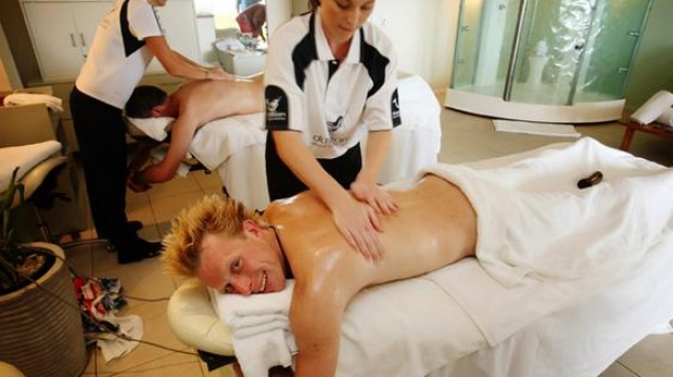 """The Best Job in the World"" competition finalist Ben Southall of Britain receives a massage on Daydream Island, about 950km (590 miles) north of Brisbane."