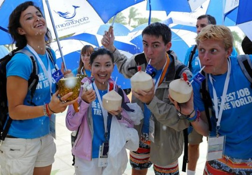The 'Best Job In The World' finalists (L to R) Magali Heuberger (The Netherlands), Mieko Kobayashi (Japan), Ben Henry ...
