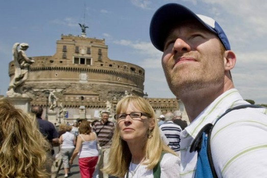 "American tourists on the ""Official Angels & Demons Tour"" visit Castel Sant'Angelo while retracing the plot by novelist ..."