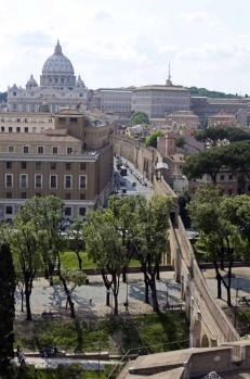 The walkway which links the Vatican (rear) with Castel Sant'Angelo is seen in Rome.