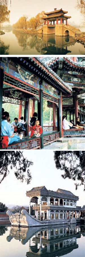 Imperial retreat ... (from top); the Summer Palace's Bridge of Pastoral Poems; the Long Corridor; and the Marble Boat.