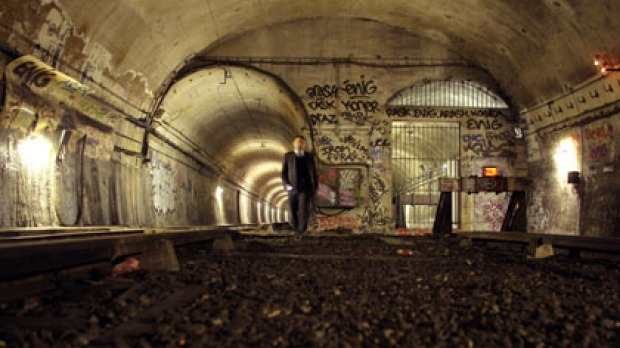 "A transport employee in the tunnel linking the Porte des Lilas metro station to Haxo, one of the several ""ghost"" metro ..."