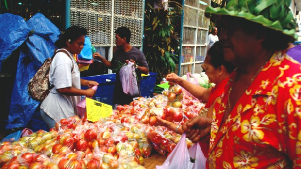 Food of the gods ... the market at Papeete, the capital of French Polynesia.