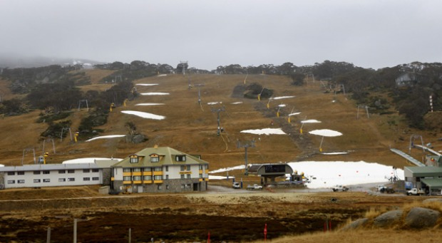 Only man-made snow at Perisher on the opening day of ski season.