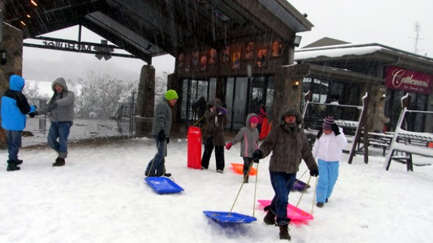 Tobogganers hit the slopes as snow falls at Mount Buller.