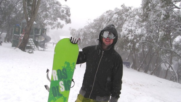 A snowboarder at Mount Buller.