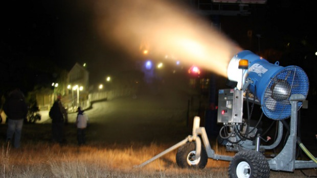 A snow gun fires up at Mount Buller in the lead-up to ski season.