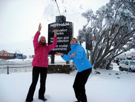 Celebrating the snowfall at Mount Hotham.