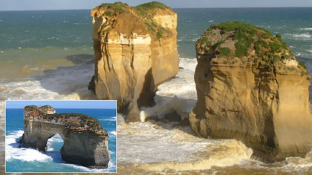 Island Archway (inset) is now two new features on the Great Ocean Road near Loch Ard Gorge after the middle section ...