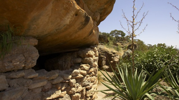 Lone ranger ... Valerio Ricetti built a home in the rocks.