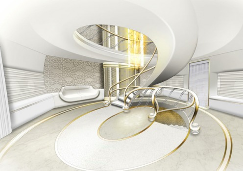 The grand entrance hall design for the private A380 superjumbo.