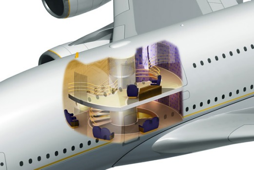 The enormous size of the Airbus A380 allows it to house features never before seen on an aircraft, such as an elevator ...