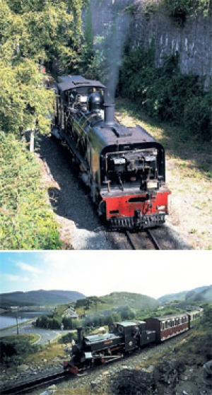 On track ... (top) the Welsh Highland Railway; (below) the sister train on the Ffestiniog Railway.