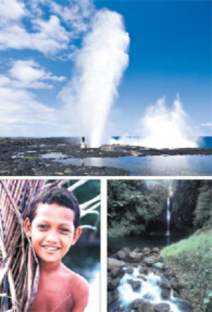 Up the spout ... (clockwise from top) the magnificent Alofaaga blowholes form part of a coastline that becomes a wall of ...