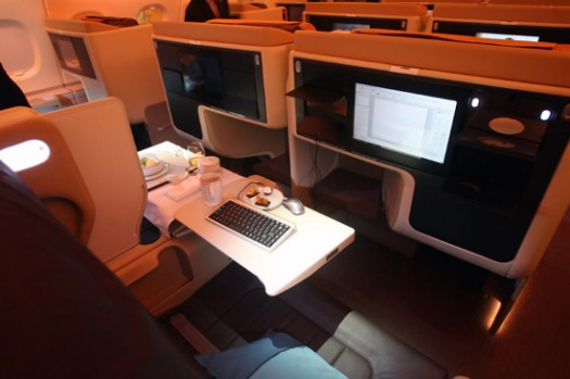 Business class on board the Singapore Airlines superjumbo Airbus A380.