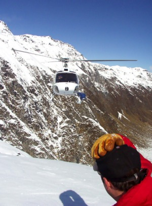 Adrenalin rush ... helicopters take skiers and boarders to another world, deep within New Zealand's impressive Southern ...