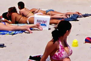 People on South Beach.