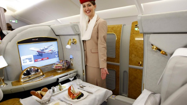 Airline review emirates first class dubai to sydney for Airbus a380 emirates interior