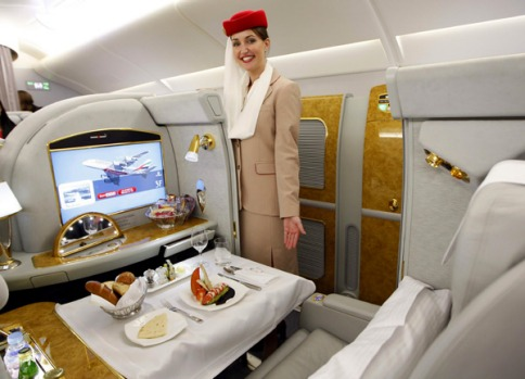 But comfort costs; fares are about $16,000 return Dubai to Melbourne.