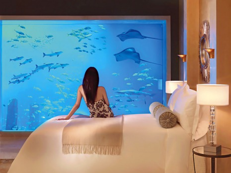 Attention seeker ... Dubai's Atlantis hotel, where rooms look out on to giant aquariums.