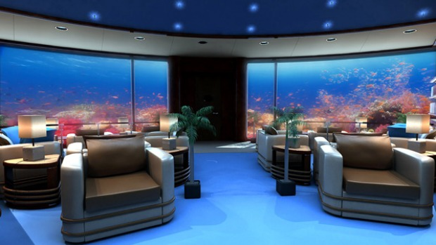 Artist's impression of the library at Fiji's planned Poseidon resort.