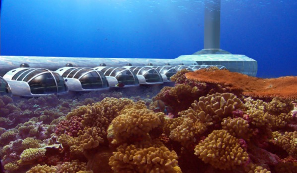 Attention-seekers ... an artist's impression of Fiji's underwater Poseidon resort, due to open next year, which will ...