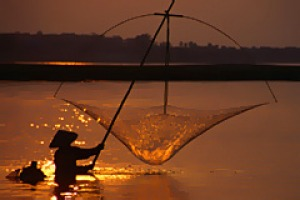River life ... a fisherman tries his luck.