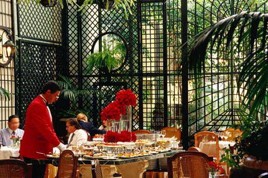 Alvear Palace Hotel, Buenos Aires. Afternoon tea is served in the grand L'Orangerie restaurant and spills into the ...