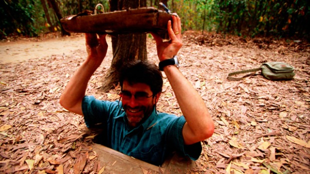 All action ... exploring the Cu Chi tunnels in Vietnam.