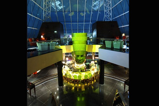 New Asia Bar and Club is in the glass tip of a 97-metre-high pyramid but this is no ancient wonder. Decked out with ...