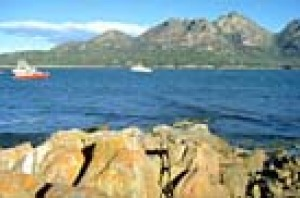 Looking from Coles bay across to the Hazards in Freycinet National Park