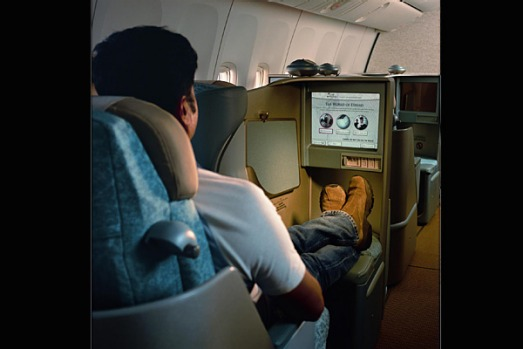 Etihad's 38-centimetre personal LCD video screen makes it easy to watch a movie, even when you're lying down.