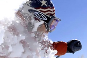 White stuff ... a skier enjoys the powder at Steamboat Springs