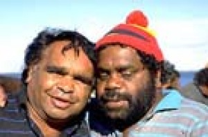 Two Aborigines on the jetty at Ceduna